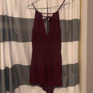 Never worn, burgundy romper